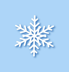 big white snowflake with shadow on blue vector image