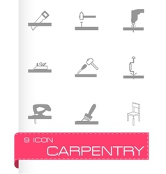 black carpentry icons set vector image