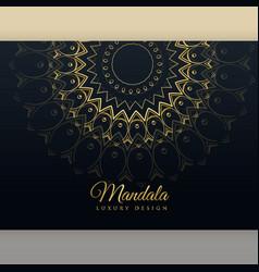 Black luxury golden mandala poster design vector