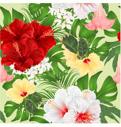 bouquet with various hibiscus and brugmansia vector image