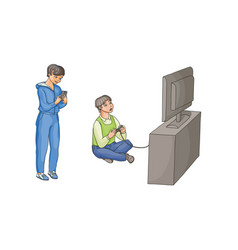 Boy playing video game kid using phone vector