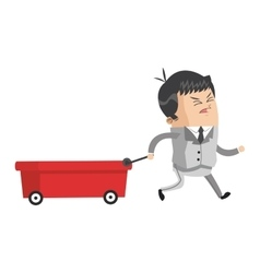 Businessman pulling wagon icon vector