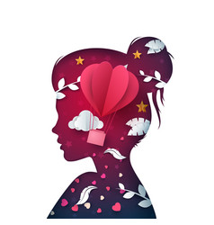 cartoon paper beautiful girl dove cloud vector image