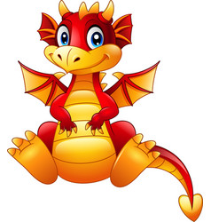 Cartoon red dragon sitting on white backg vector