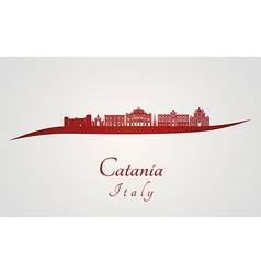 Catania skyline in red vector image vector image