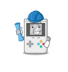 Cheerful architect handheld game scroll with blue vector