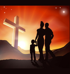 Christian family concept vector