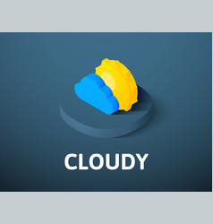Cloudy isometric icon isolated on color vector