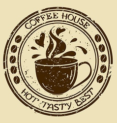 Coffee house stamp with cup vector