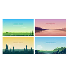 collection of horizontal banner templates with vector image
