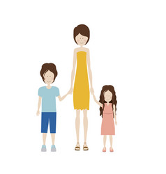 Color silhouette with kids and mom with dress vector