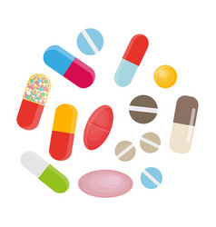 colored pills and capsules big medical set vector image