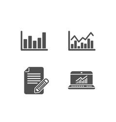 Column chart infochart and article icons online vector