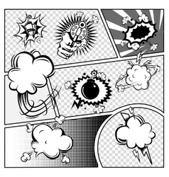 Comic Book Page Monochrome Template vector image