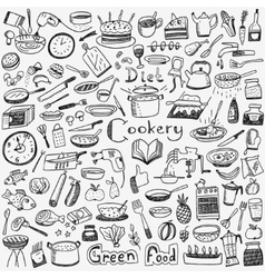 Cookery natural food - doodles set vector image