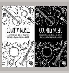 Country music flyer western festival vector