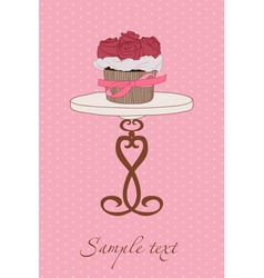 Cupcake wedding invitation vector
