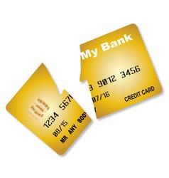 Cut credit card vector