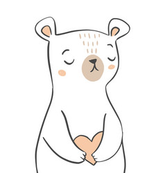 cute bear character holding a heart hand drawn vector image