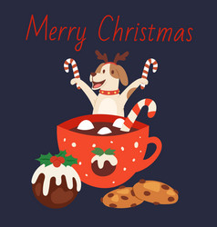cute dog in christmas reindeer antlers with mug of vector image