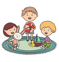 Cute little kids group playing with toys vector