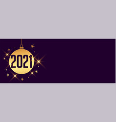 decorative new year 2021 bauble on purple vector image