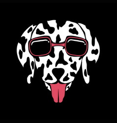dog dalmatian eyeglasses vector image