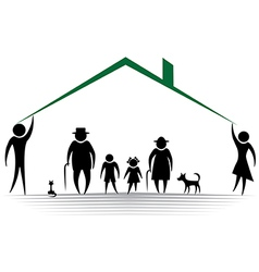 family roof Silhouettes of woman man children f vector image