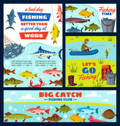 fisherman and fishery items fish and tackles vector image