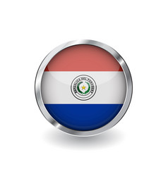 flag of paraguay button with metal frame and vector image