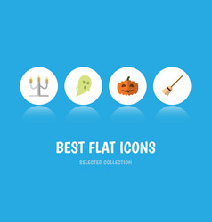 Flat icon celebrate set of gourd broom phantom vector