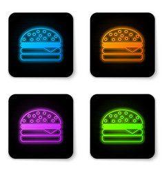 glowing neon burger icon isolated on white vector image
