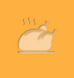 grilled whole chicken paper cut out icon vector image