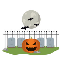 halloween pumpkin on cemetery vector image
