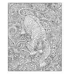 hand drawn tiger against floral pattern vector image