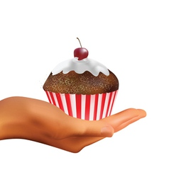 hand holding muffin vector image