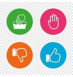 Hand icons Like and dislike thumb up symbols vector