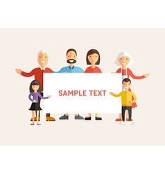 Happy Family Holding a Banner Flat Design vector image