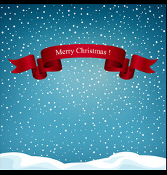 holiday background with red ribbon merry christmas vector image