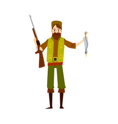 hunter man with rifle gun and dead duck vector image