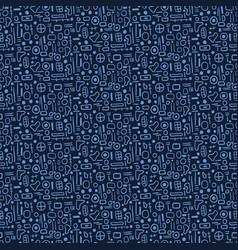 Indigo blue geometric mesh pattern repeating hand vector