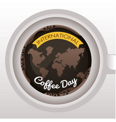 International coffee day celebration with earth vector