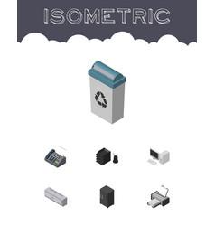 Isometric business set of printing machine vector