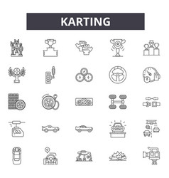 karting line icons signs set outline vector image