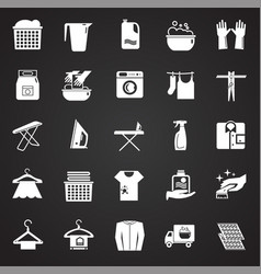 laundry icons set on black background for graphic vector image