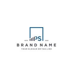 Letter ps square logo finance design vector