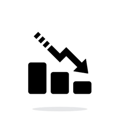 Line chart down icon on white background vector image