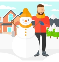 Man posing near snowman vector