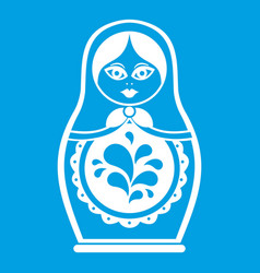 matryoshka icon white vector image