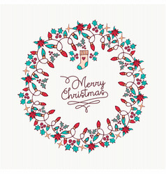 merry christmas hand drawn nature wreath card vector image